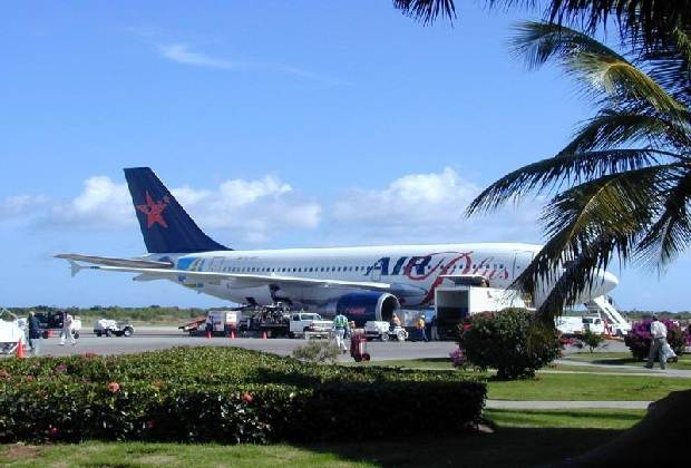 Plane on airport Punta Cana